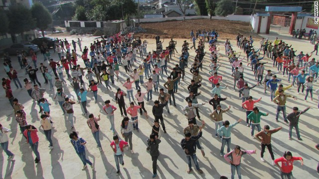 Students take part in group exercises