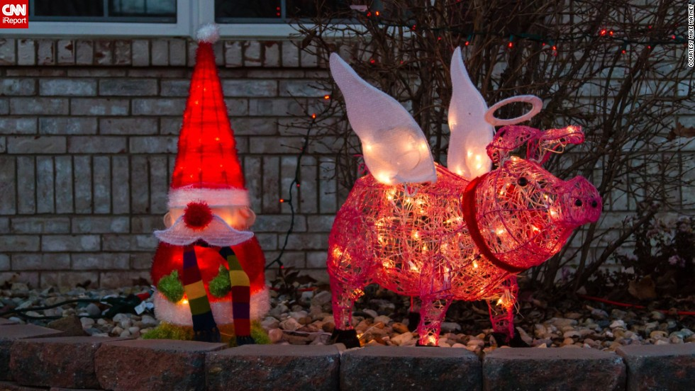 our yard is always full of pigs and gnomes says lt - Pig Christmas Decorations Outdoors