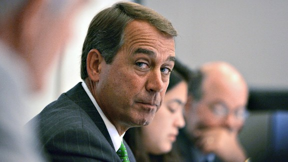 Boehner answers questions during an interview with Bloomberg in Washington on June 29, 2005.