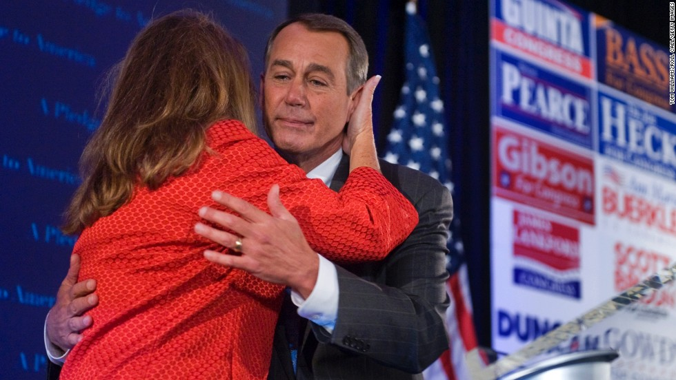 Boehner hugs his wife, Debbie, after addressing the crowd at the NRCC Election Night watch party on November 2, 2010, when Republicans took back control of the House of Representatives. Boehner met his wife in college, and they have been married since 1973.