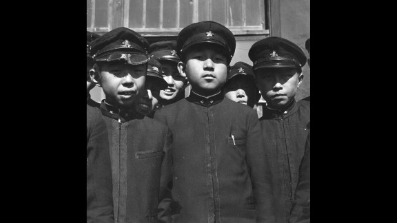 Crown Prince Akihito with some of his school friends at the Imperial School in Tokyo, circa 1938.
