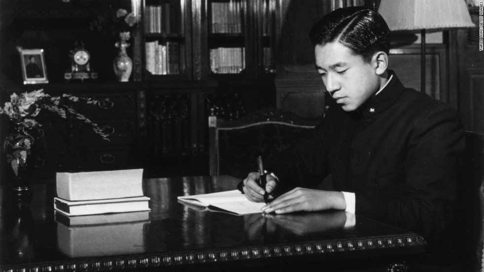 Prince Akihito in his private study at the Imperial Palace in 1952.