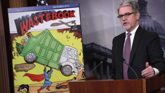 "Sen. Tom Coburn, R-Oklahoma, speaks during a news conference to release his annual report of what he calls ""wasteful and low-priority"" spending."