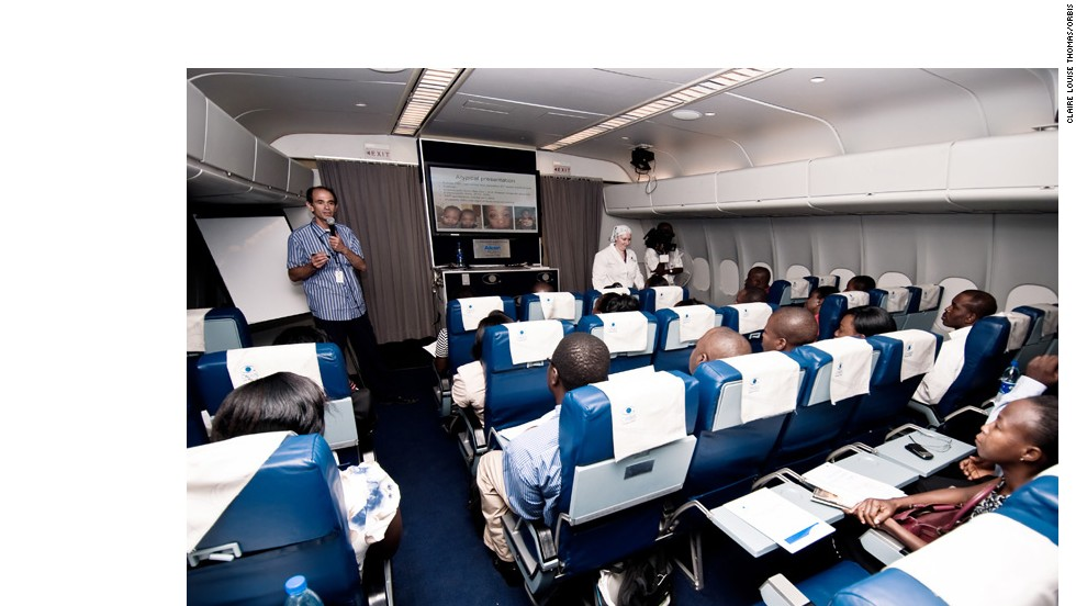 The plane also has a 48-seat classroom, where visiting medics can train local doctors in new procedures and techniques.