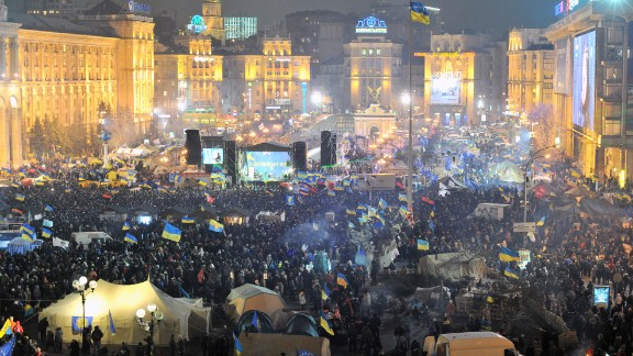 Protesters fill Independence Square in Kiev, Ukraine, on Tuesday, December 17.