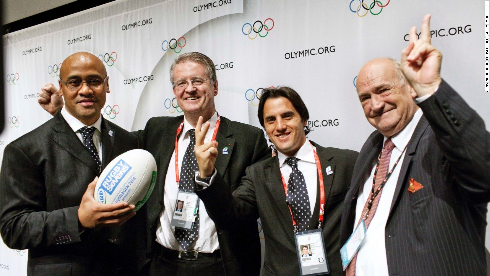 (From left to right) New Zealand rugby legend Jonah Lomu, International Rugby Board president Bernard Lapasset, Argentina's rugby chief Porfirio Carreras and French counterpart Pierre Camou celebrate after sevens was included as a sport for the 2016 Olympic Games in Rio de Janeiro.