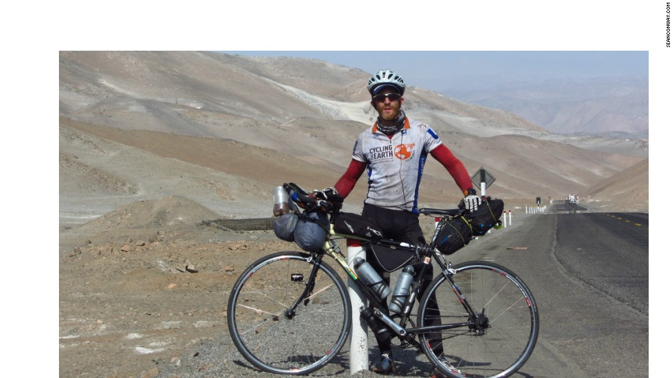 Conway during his epic round-the-world cycle ride in 2012, when he journeyed through six continents and covered over 21,000 kilometers in just 116 days.