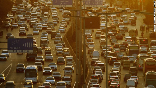 This file photo shows road traffic during rush hour in Tianjin, China in October.