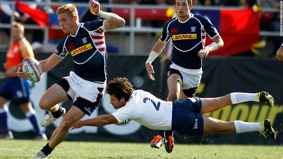 Colin Hawley (left) in action for the U.S. Rugby is the fastest growing sport in the U.S. with more than one million people (a third of them women) playing the sport at some level.