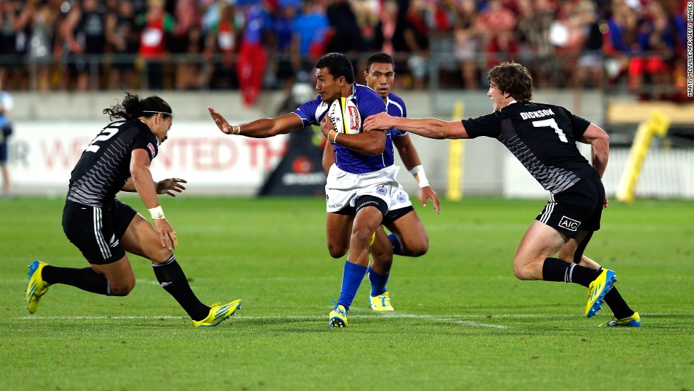 Rugby sevens is a scaled-down, super-charged version of 15-man Rugby Union. Matches last 14 minutes (seven minutes each half) with each team fielding seven players.