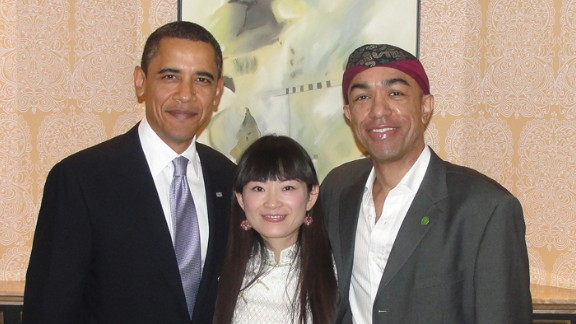 Mark Obama Ndseandjo and his wife with Barack Obama.