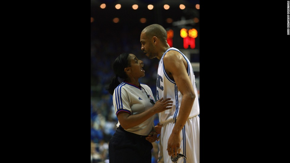 Grant Hill of the Orlando Magic argues with Palmer during the NBA playoffs in Orlando in April 2007.