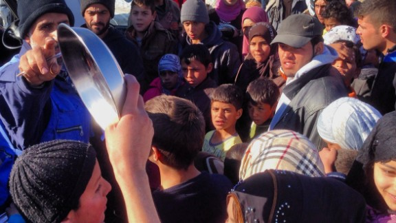 Food distribution to Syrian refugees in Arsal, Lebanon on December 16.