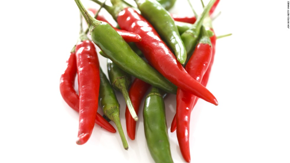 Chili peppers contain capsaicin, a chemical compound that can kick metabolism into higher gear, Isaacs says. He suggests adding a tablespoon of chopped chili peppers to a meal once a day. Chili peppers are also an unexpected source of vitamin C.
