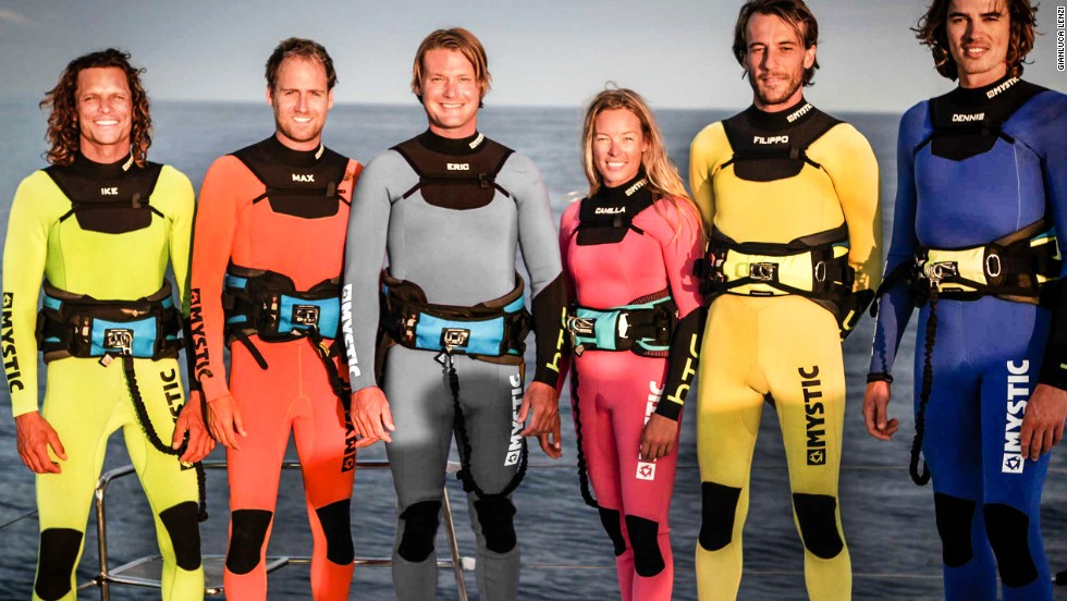 The successful team of kiteboarders comprised Ike Frans, Max Blom, Eric Little, Camilla Ringvold, Filippo Van Hellenberg Hubar and Dennis Gijsbers.