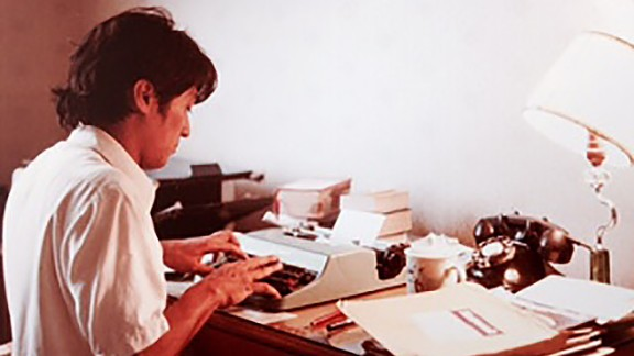 FlorCruz files a report as rookie journalist for Newsweek Magazine's Beijing bureau in 1981.