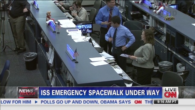ISS emergency spacewalk under way
