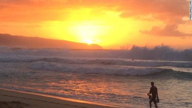 OAHU, HAWAII:  Sunset Beach, where the legendary Bonzai Pipeline surf break was firing with 15 to 20 foot waves on Decemebr 21. President Obama is vacationing on the island for the Christmas holiday.  Photo by CNN's Mark Walz.