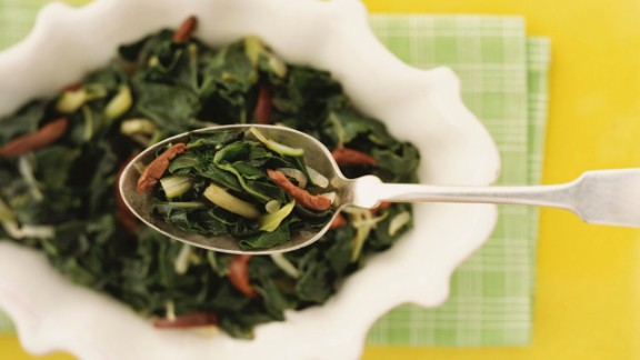 "A single serving of this hearty veggie adds up to a mere 46 calories. A serving also packs more than your daily-recommended doses of vitamins A and K, which can strengthen your immune system for a healthy metabolism, says Jonny Bowden, a nutritionist and the author of ""The 150 Healthiest Comfort Foods on Earth.""   Plus, a cup of collard greens contain 7.6 grams of belly-filling fiber. Research from the U.S. Department of Agriculture shows that eating fiber-rich foods can lower your body's absorption of calories from carbs.   Try this recipe: Collard salad with roasted tomatoes, bacon and mushrooms"