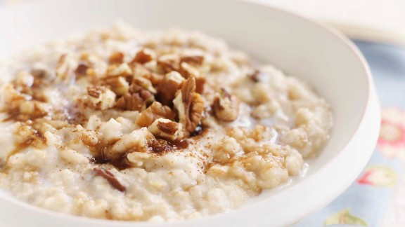 One cup of warm, gooey oatmeal contains 4 grams of fiber and 6 grams of protein, a combination that slows the digestion of carbs, reduces your insulin response, and keeps you fuller for longer, says Batayneh. In fact, a study published in the European Journal of Clinical Nutrition evaluated 38 common foods and found that oatmeal was the third most filling.   When possible, opt for steel-cut oatmeal, which goes through less processing than other varieties and as a result has a lower Glycemic Index score, a measurement of how much a food increases your blood sugar.  Try this recipe: Steel-cut oatmeal with salted caramel topping