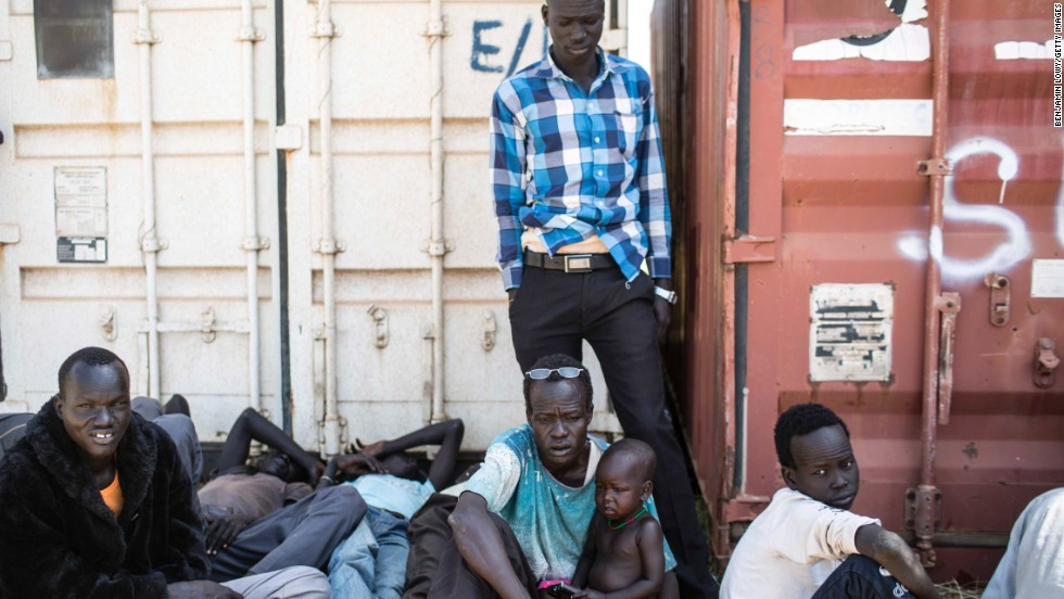 Tens of thousands of civilians have taken refuge in U.N. bases in South Sudan. These civilians were photographed at one of the bases December 17.