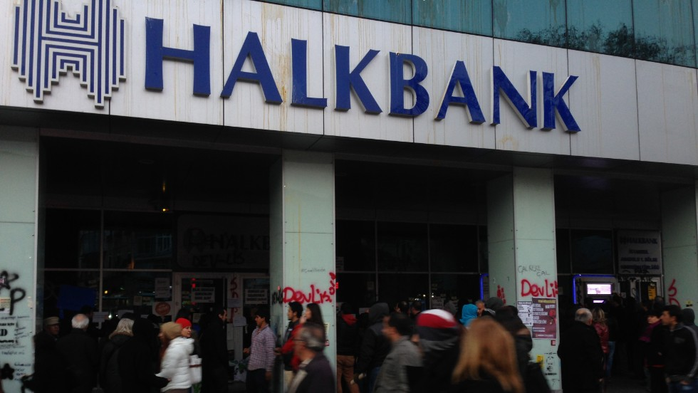 "Thousands of demonstrators chanted ""help, there are thieves"" during the protest in front of a branch of the state-owned Halkbank."
