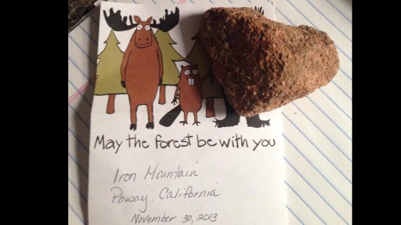 A heart-shaped rock from Iron Mountain, California, signifies loves.