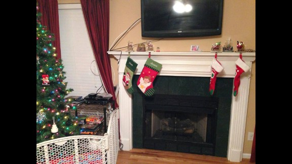 Stockings are hung in Tennessee with CJ's ashes nearby.