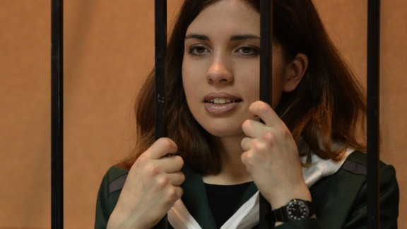 """Nadezhda Tolokonnikova, from the punk band """"Pussy Riot,"""" was put in prison for speaking out against Russian President Vladimir Putin."""