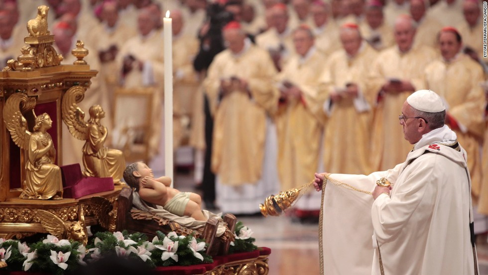 "The Pope leads the Christmas Eve Mass. ""People are listening to him, because he's speaking in a language that's not Vaticanese,"" said Gerald O'Connell, a Vatican analyst. ""He's speaking the language of ordinary people."""
