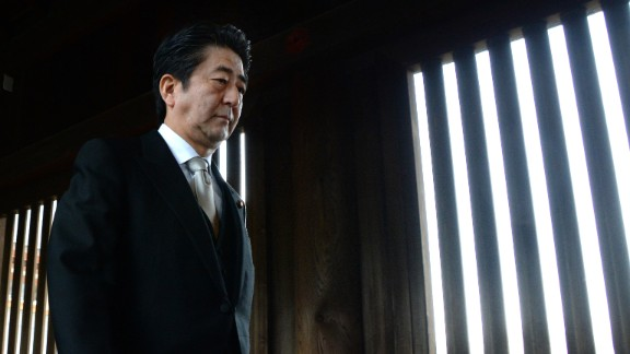 "Japanese Prime Minister Shinzo Abe said his visit was to ""uphold the pledge never to wage a war again."" The visit took 30 minutes."