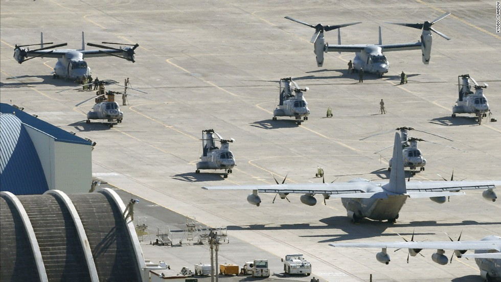 Two Osprey tilt-rotor aircraft land at Futenma for additional deployment on August 3.