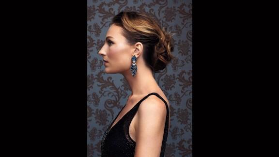 Ben-Amun earrings, unique vintage dress.
