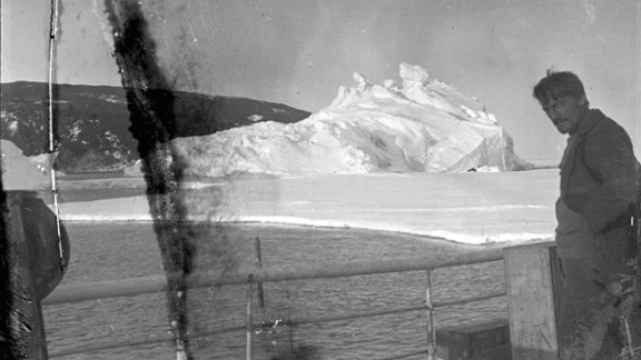 A print from a 1914 negative found at Scott's last hut at Cape Evans shows Ernest Shackleton's scientist, Alexander Stevens, on the deck of the Aurora.