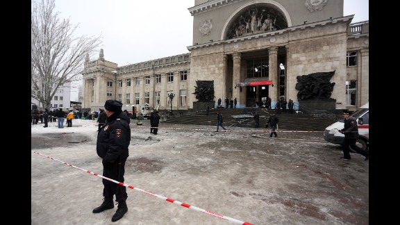 Russian security forces stand guard outside a train station in Volgograd, Russia, following a suicide bomb attack on Sunday, December 29.