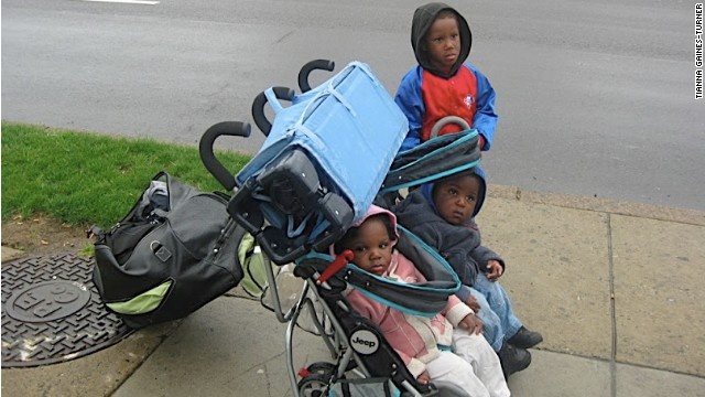 Tianna Gaines-Turner's three children are shown during their time of homelessness.