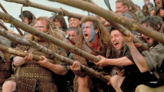 """""""Braveheart"""" -- Mel Gibson's bloody 1995 epic about Scottish warrior William Wallace won five Oscars, including Best Picture."""