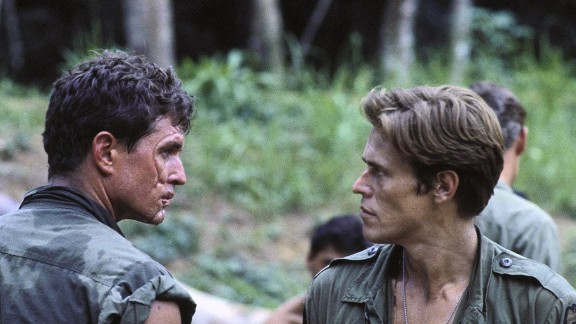 """""""Platoon"""" -- Oliver Stone's searing Vietnam War drama starred Charlie Sheen (not pictured), Tom Berenger and Willem Dafoe. It won the Oscar for Best Picture of 1986."""