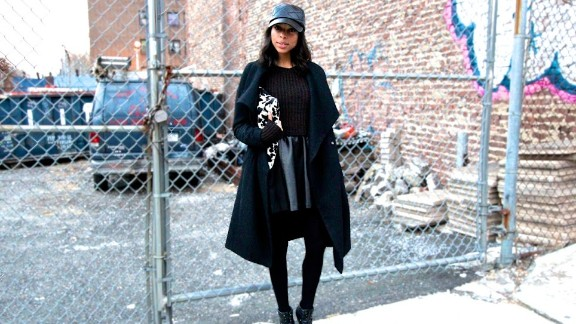 Janelle Lloyd of the street fashion and decor blog Girls Off Fifth makes an all-black ensemble look luxe by mixing textures like soft leather, wooly knits and quilting detail.