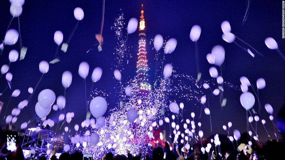Balloons are released in Tokyo to celebrate 2014.