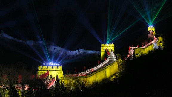 Laser lights shoot from towers at the Great Wall of China in Beijing.