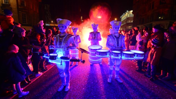 Drummers perform at the New Year's Winter Carnival in Newcastle, England.