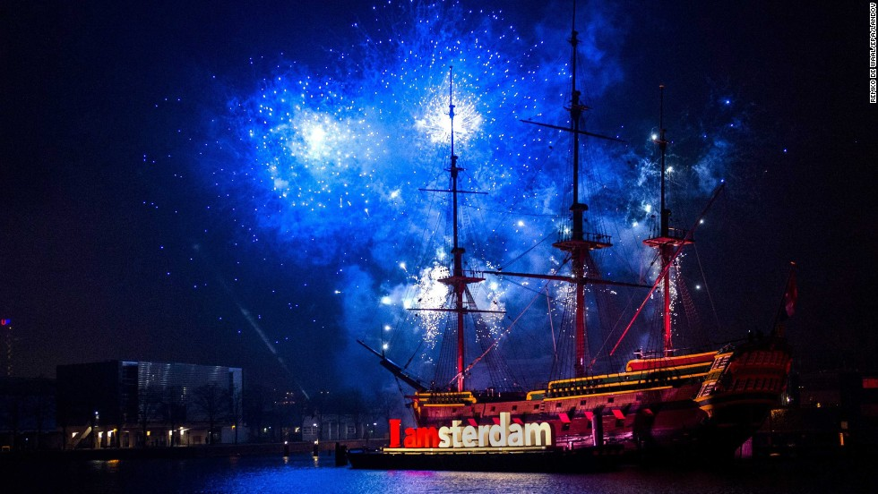 New Year's celebrations take place near the National Maritime Museum in Amsterdam.