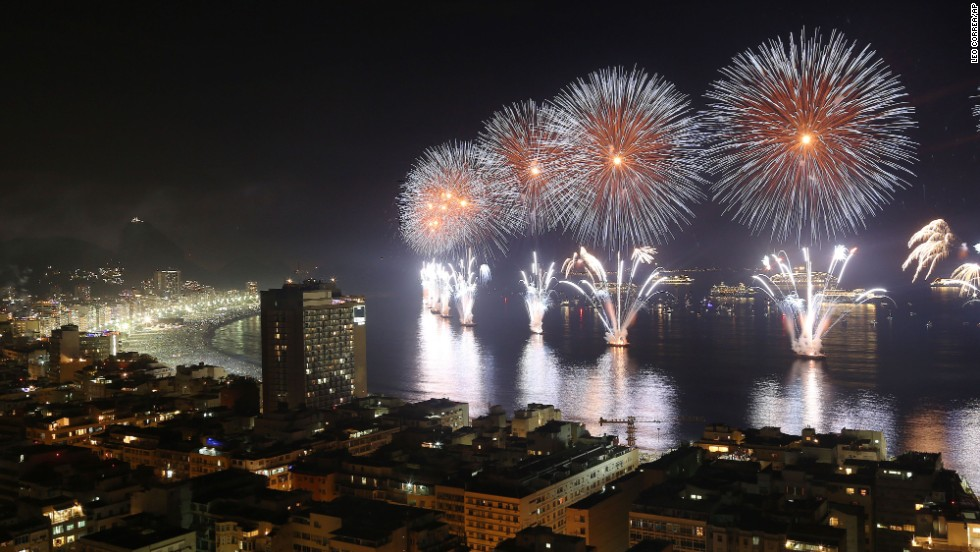 Fireworks light the sky over Copacabana Beach in Rio de Janeiro just after midnight on Wednesday, January 1.