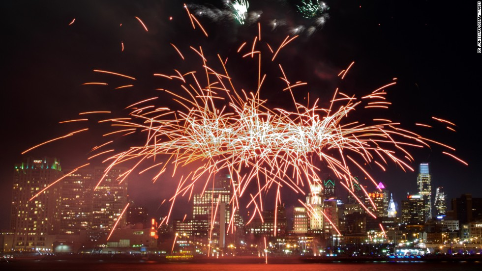 Fireworks explode above the Philadelphia, Pennsylvania, skyline as part of New Year's celebrations on January 1.
