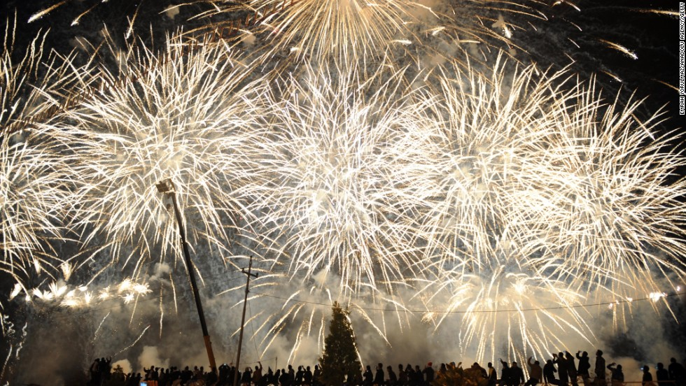 Fireworks explode near the citadel of Arbil during New Year's Eve celebrations in Irbil, Iraqi Kurdish Regional Administration, on January 1.