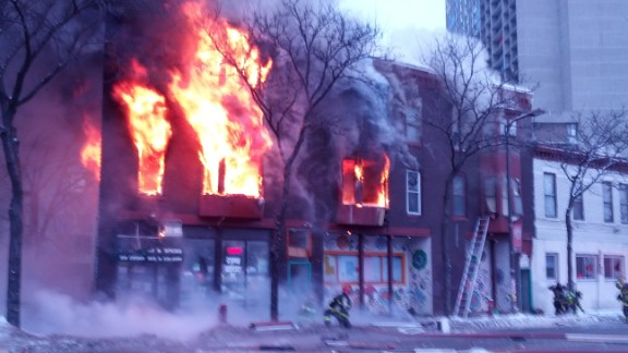 Authorities are on the scene of a large fire at an apartment complex in Minneapolis Wednesday morning.