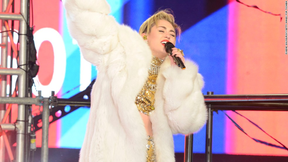 Miley Cyrus rocks Times Square in New York City on December 31.