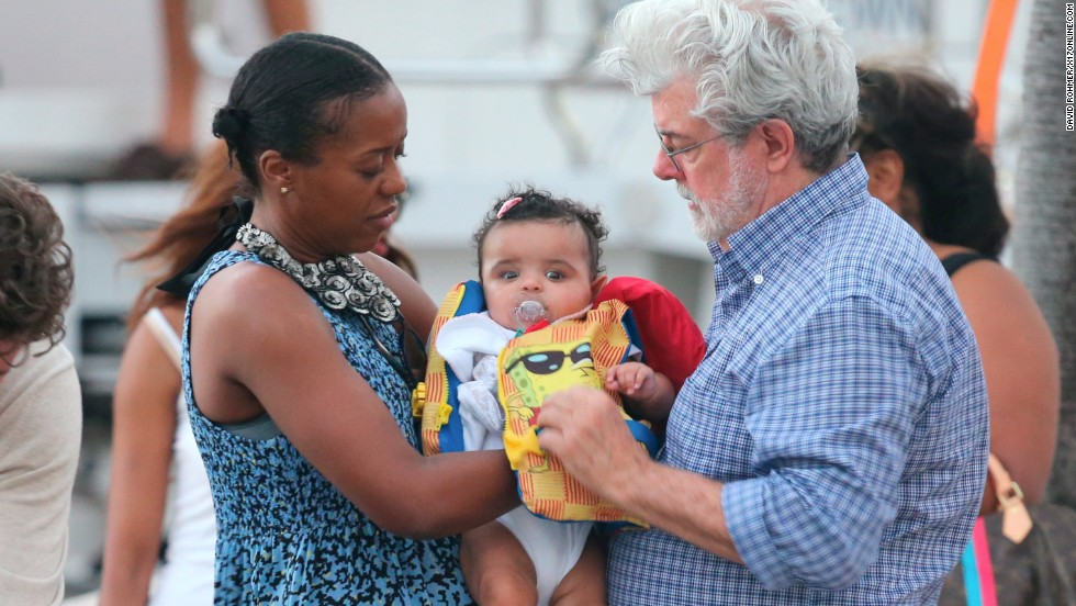 George Lucas and his family enjoyed the new year inn Saint Barth on January 1.
