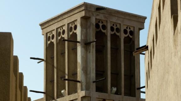 A traditional wind tower in Dubai's Al Bastakiya area.